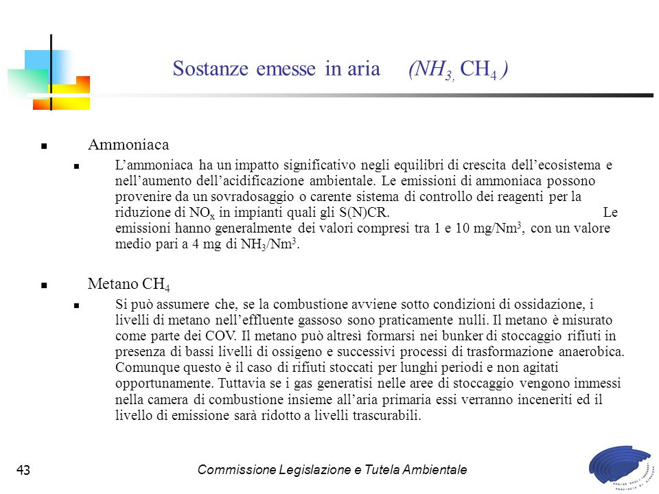 Sostanze emesse in aria (NH3, CH4 )