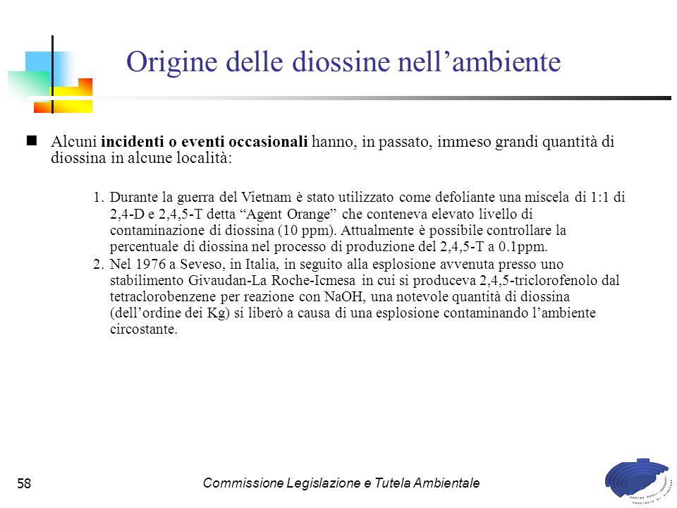 Origine delle diossine nell'ambiente