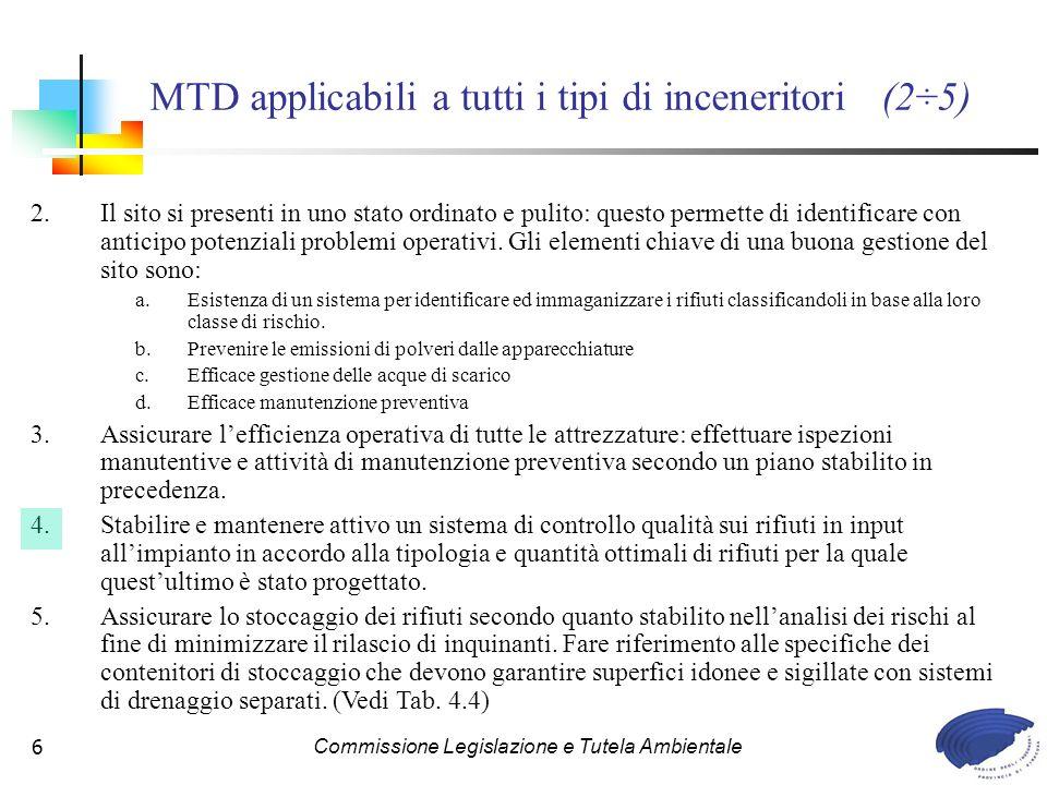 MTD applicabili a tutti i tipi di inceneritori (2÷5)