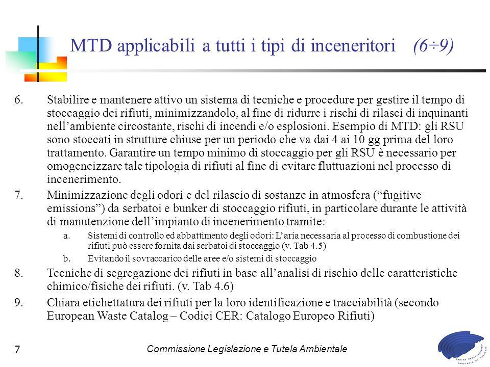 MTD applicabili a tutti i tipi di inceneritori (6÷9)