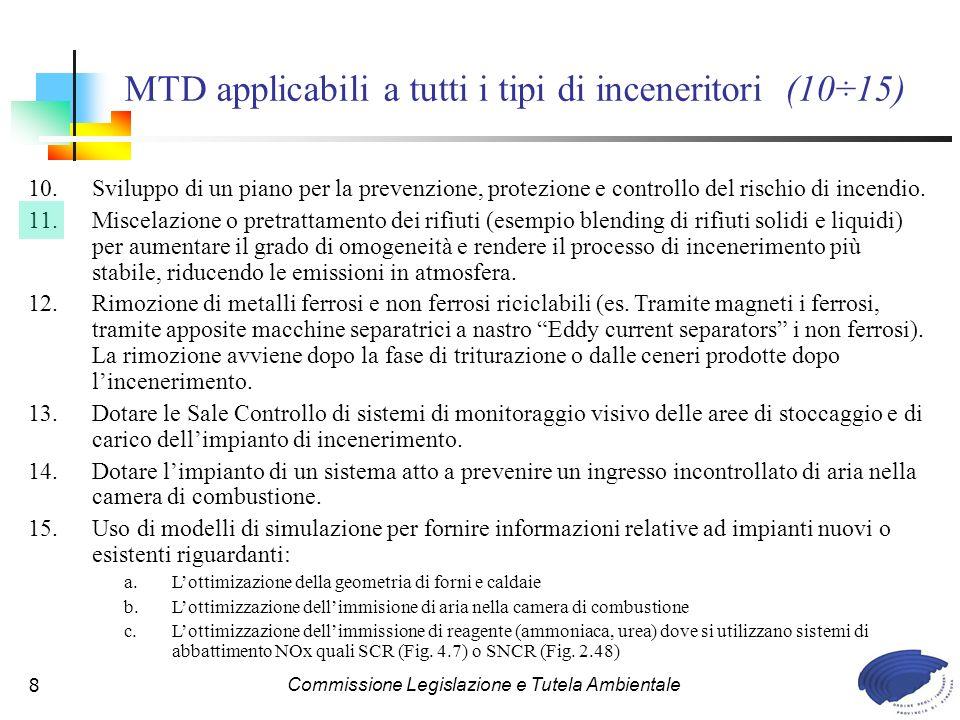 MTD applicabili a tutti i tipi di inceneritori (10÷15)