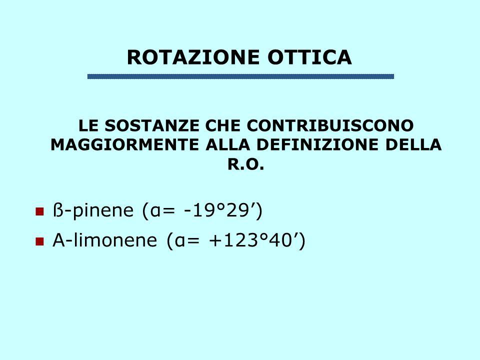 ROTAZIONE OTTICA ß-pinene (α= -19°29') Α-limonene (α= +123°40')