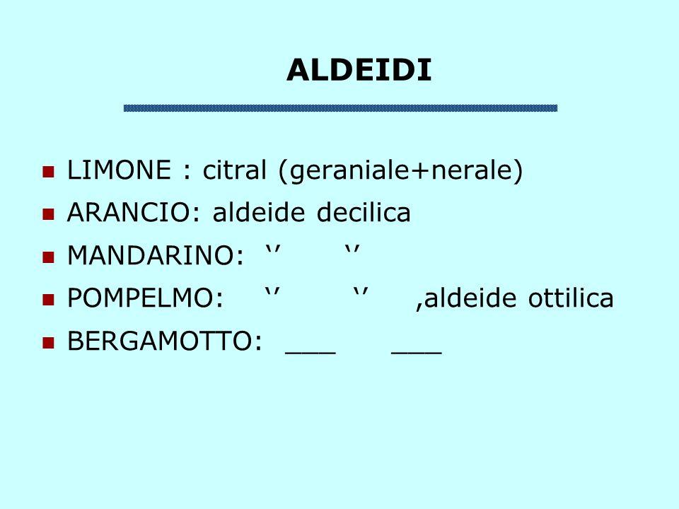 ALDEIDI LIMONE : citral (geraniale+nerale) ARANCIO: aldeide decilica