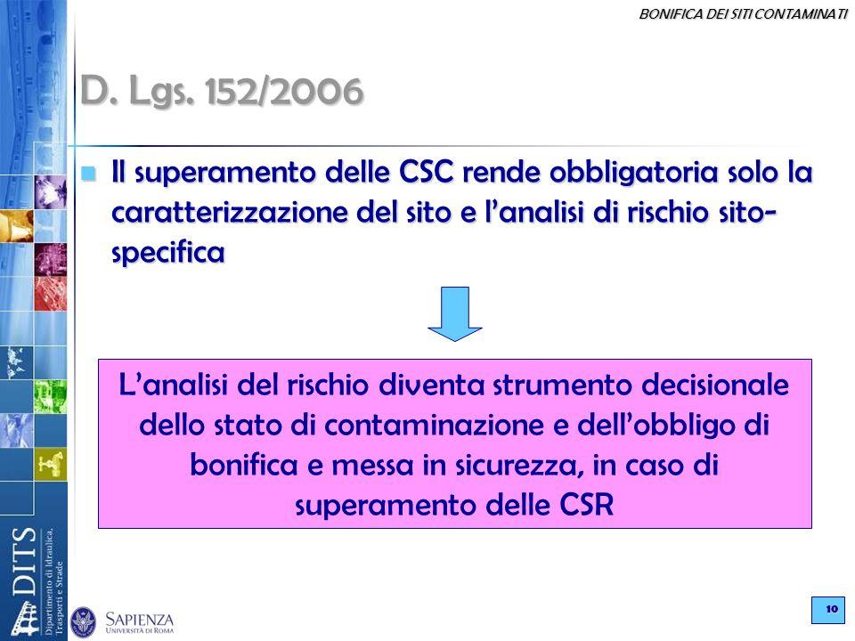 D. Lgs. 152/2006 Il superamento delle CSC rende obbligatoria solo la caratterizzazione del sito e l'analisi di rischio sito-specifica.