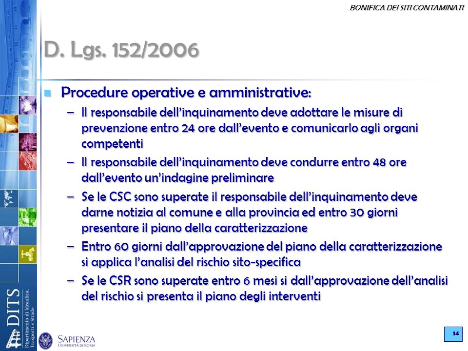 D. Lgs. 152/2006 Procedure operative e amministrative: