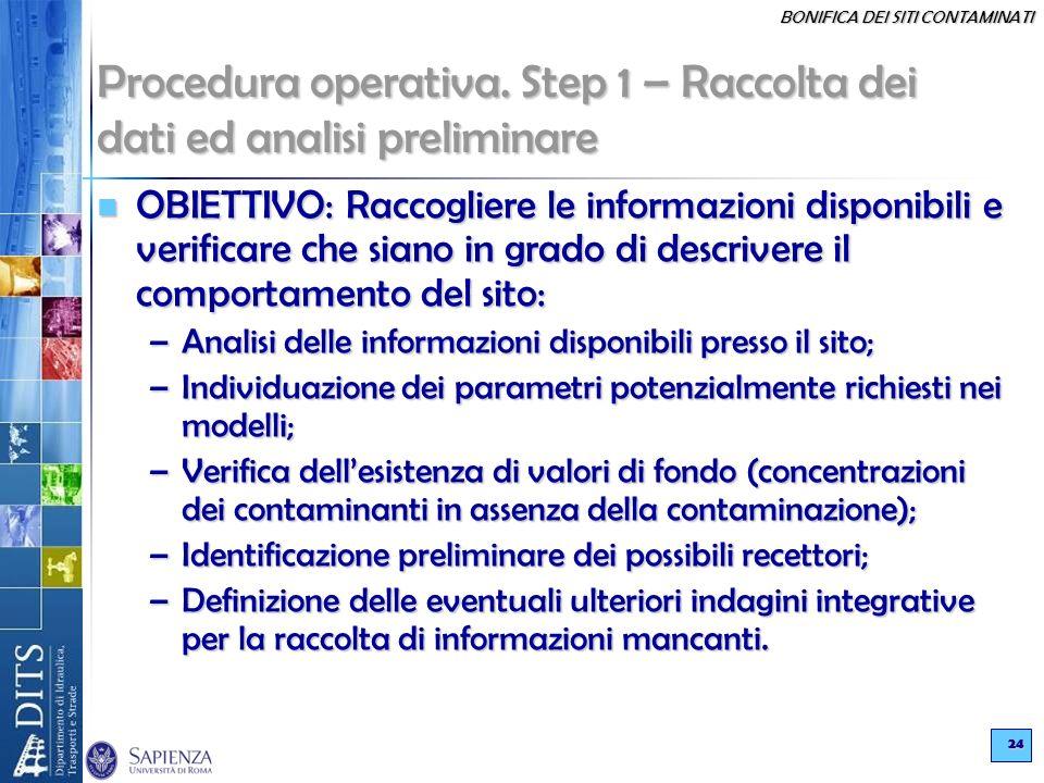 Procedura operativa. Step 1 – Raccolta dei dati ed analisi preliminare