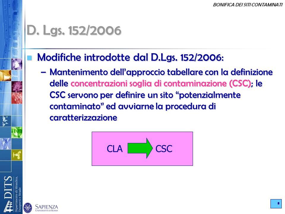 D. Lgs. 152/2006 Modifiche introdotte dal D.Lgs. 152/2006: