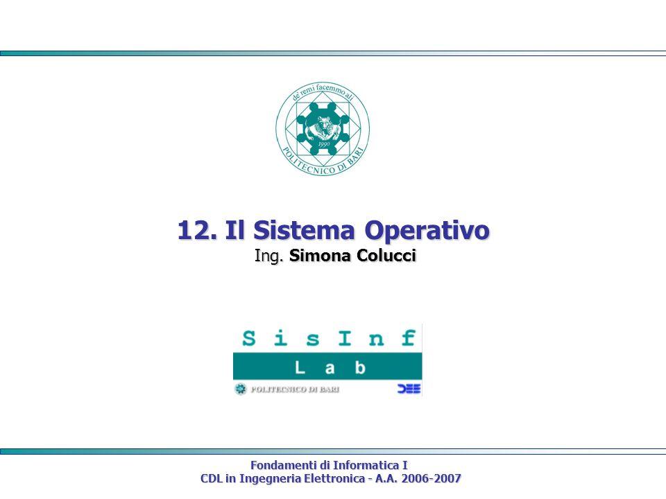 12. Il Sistema Operativo Ing. Simona Colucci