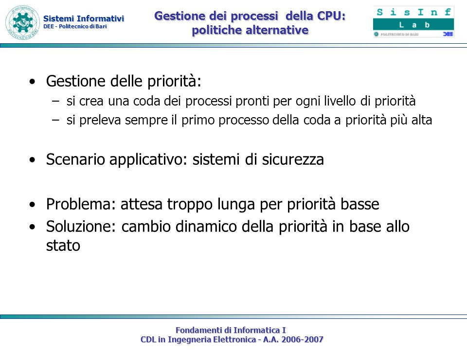Gestione dei processi della CPU: politiche alternative