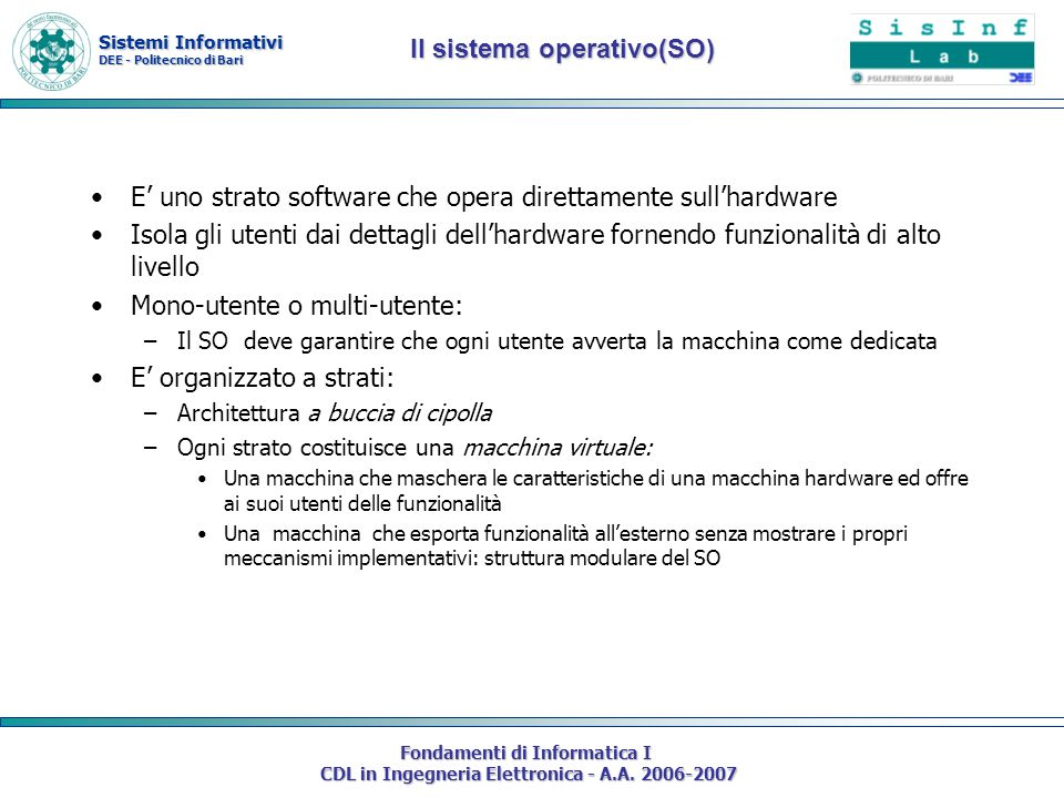 Il sistema operativo(SO)