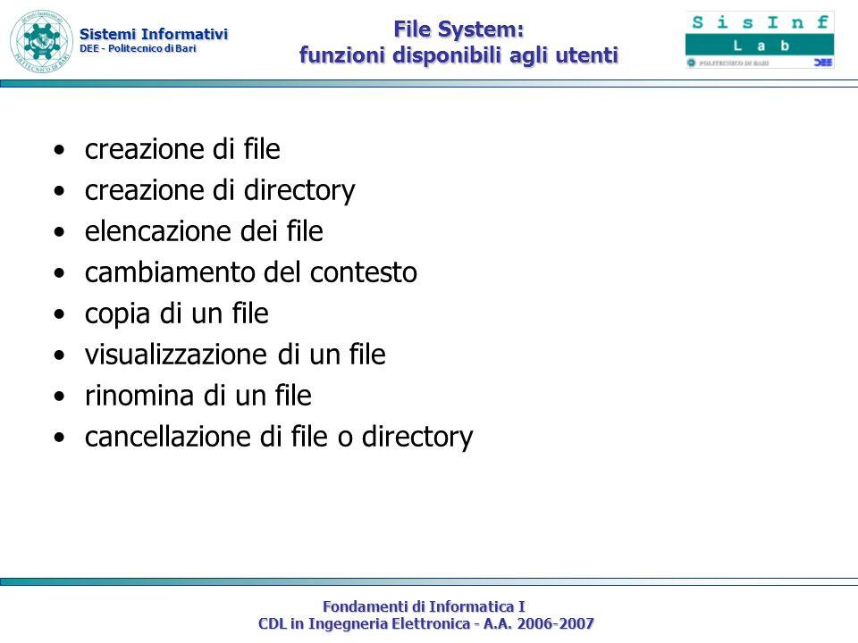 File System: funzioni disponibili agli utenti