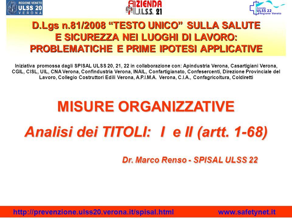 Analisi dei TITOLI: I e II (artt. 1-68)