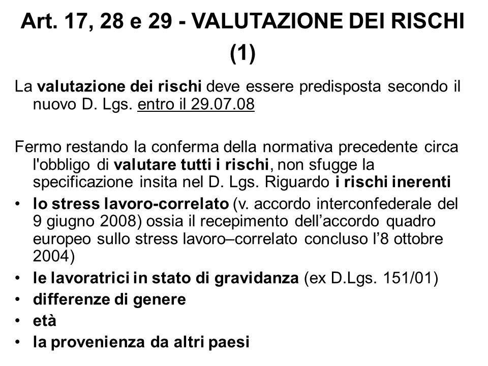 Art. 17, 28 e 29 - VALUTAZIONE DEI RISCHI (1)