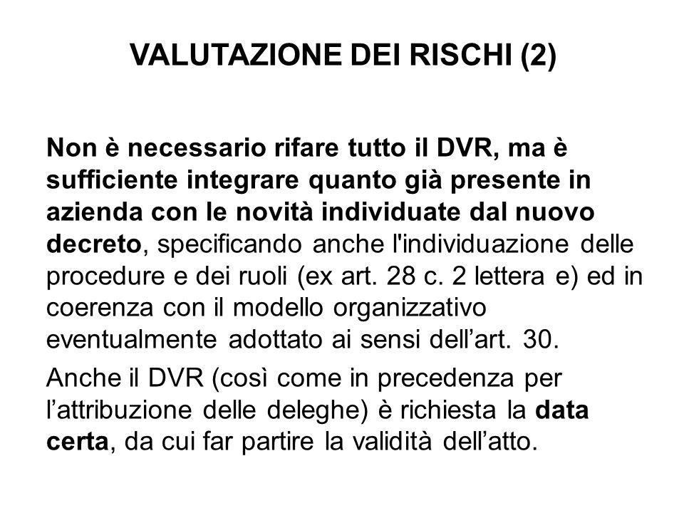 VALUTAZIONE DEI RISCHI (2)