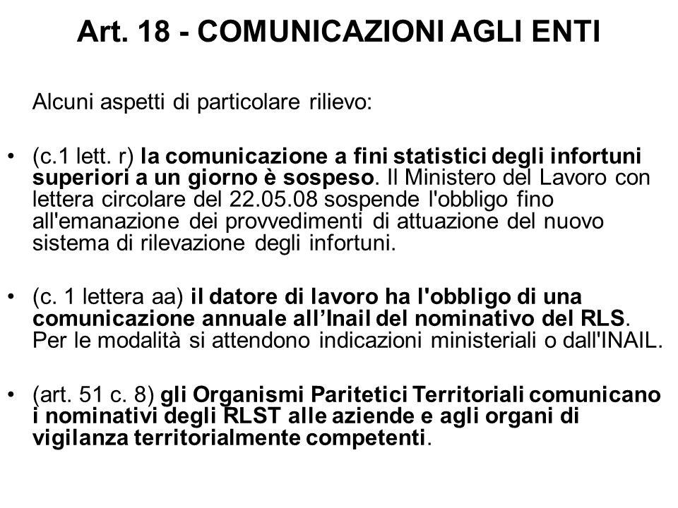 Art. 18 - COMUNICAZIONI AGLI ENTI