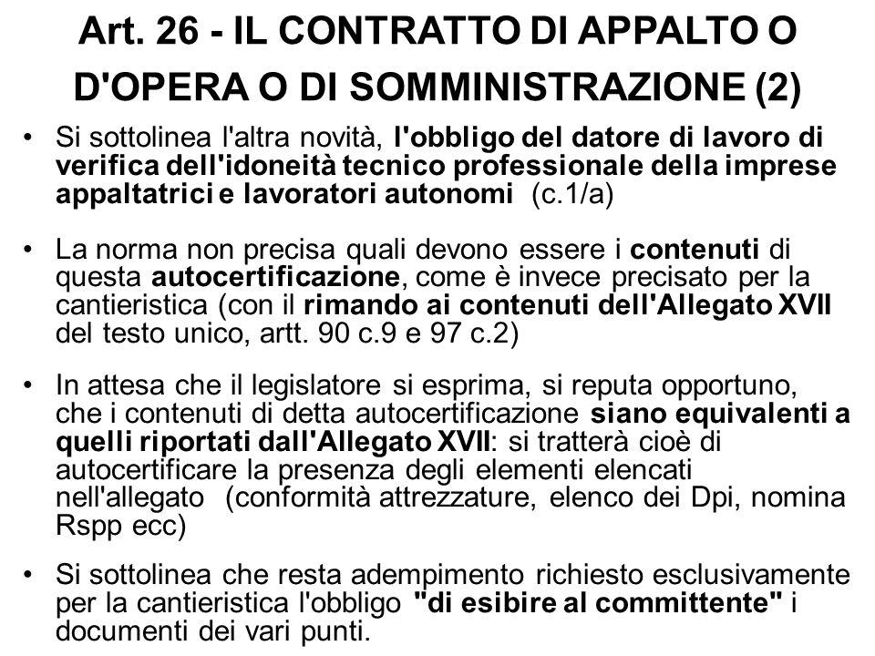 Art. 26 - IL CONTRATTO DI APPALTO O D OPERA O DI SOMMINISTRAZIONE (2)