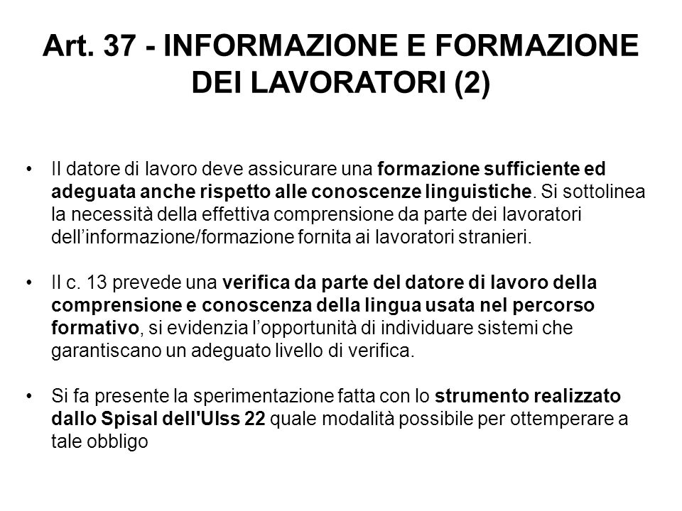 Art. 37 - INFORMAZIONE E FORMAZIONE DEI LAVORATORI (2)