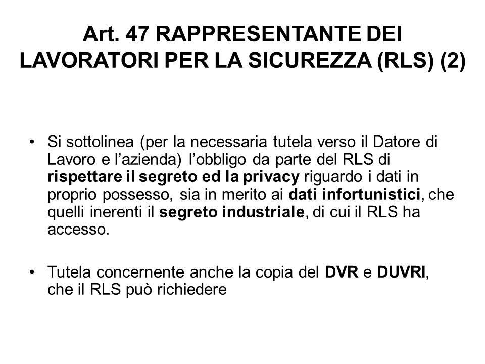 Art. 47 RAPPRESENTANTE DEI LAVORATORI PER LA SICUREZZA (RLS) (2)