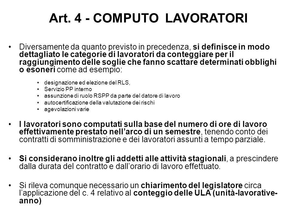 Art. 4 - COMPUTO LAVORATORI