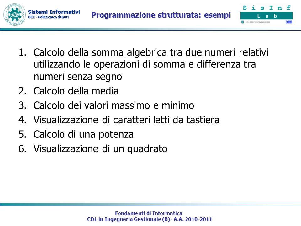 Programmazione strutturata: esempi