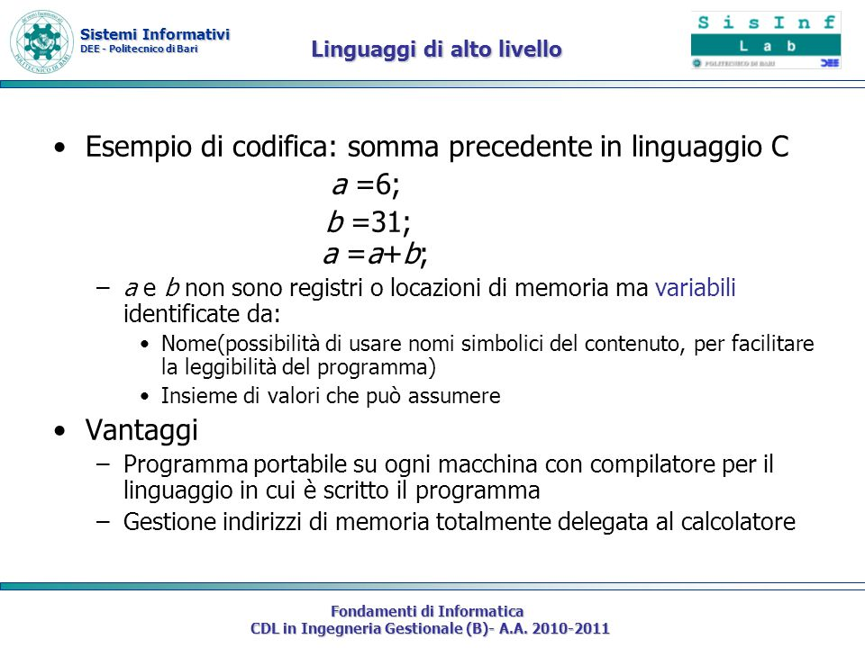 Esempio di codifica: somma precedente in linguaggio C a =6;