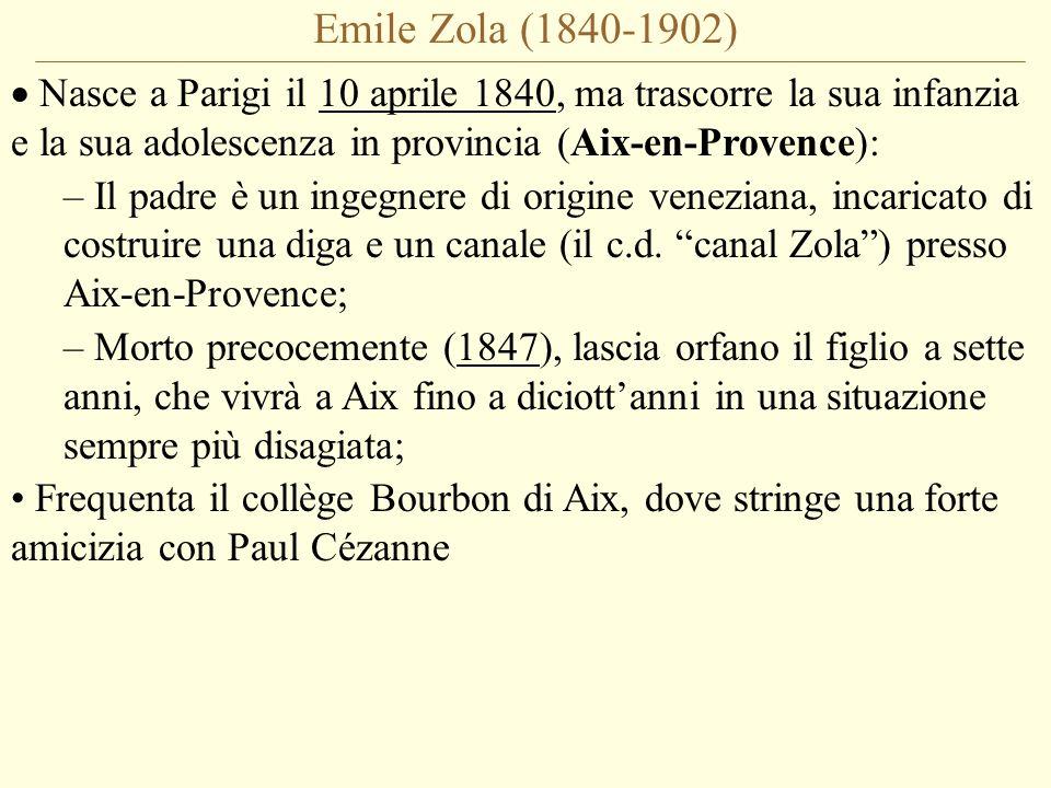 Emile Zola (1840-1902) Nasce a Parigi il 10 aprile 1840, ma trascorre la sua infanzia e la sua adolescenza in provincia (Aix-en-Provence):