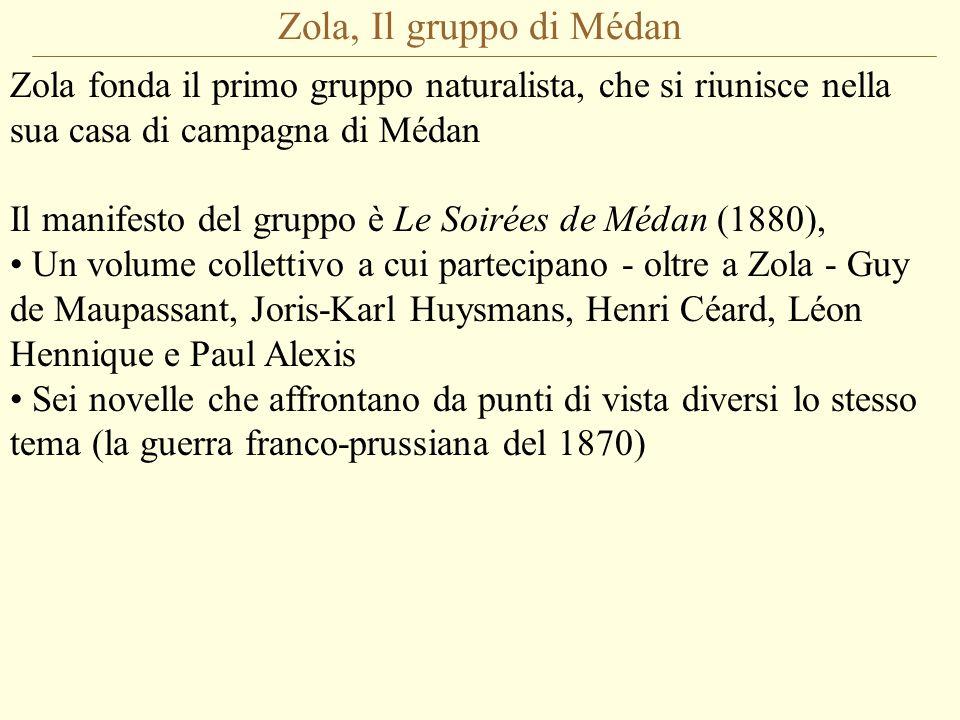Zola, Il gruppo di Médan Zola fonda il primo gruppo naturalista, che si riunisce nella sua casa di campagna di Médan.