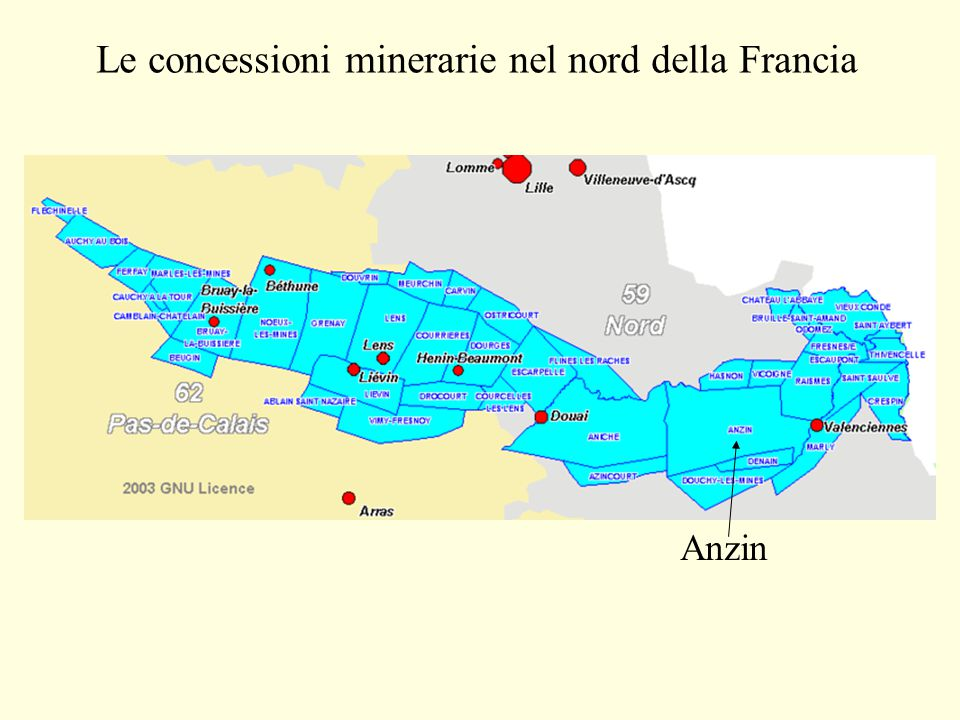 Le concessioni minerarie nel nord della Francia