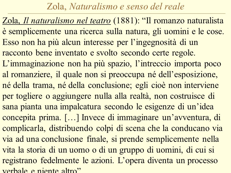 Zola, Naturalismo e senso del reale
