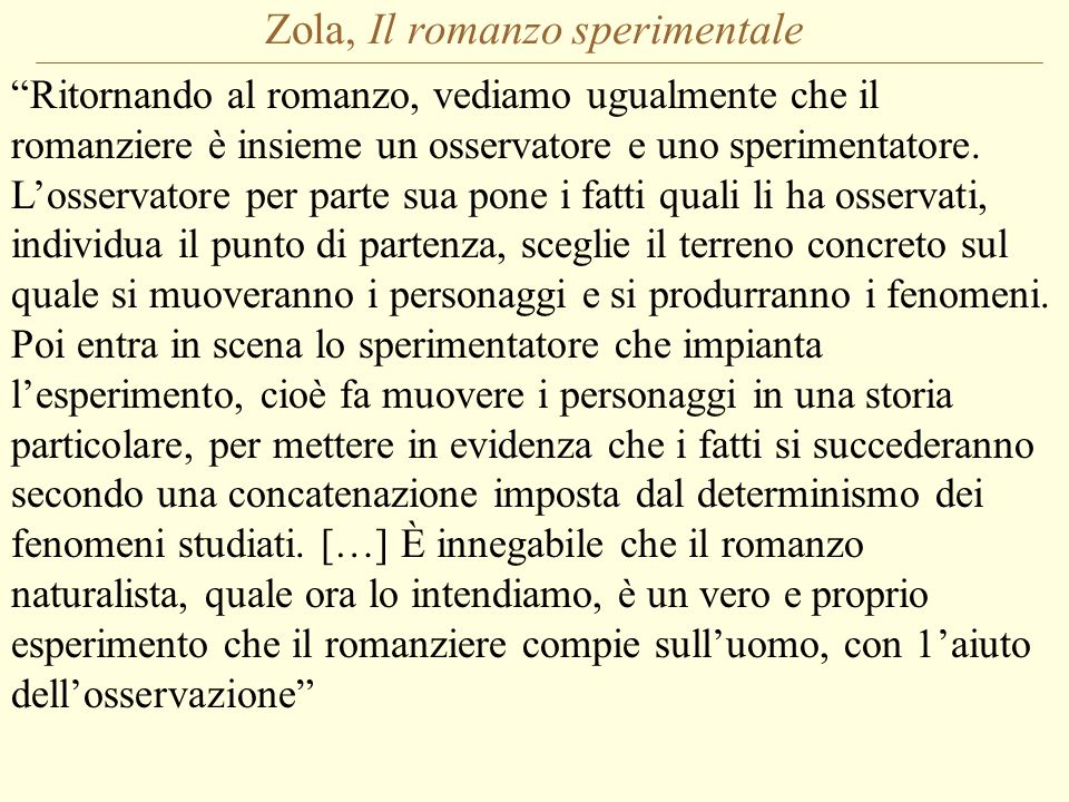 Zola, Il romanzo sperimentale