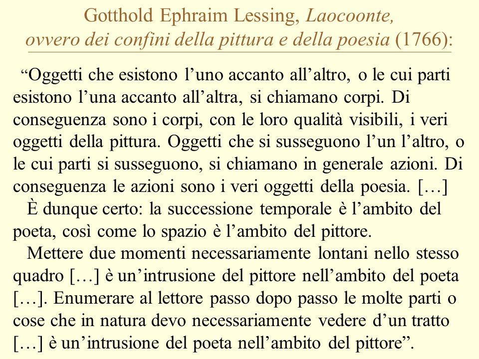 Gotthold Ephraim Lessing, Laocoonte, ovvero dei confini della pittura e della poesia (1766):