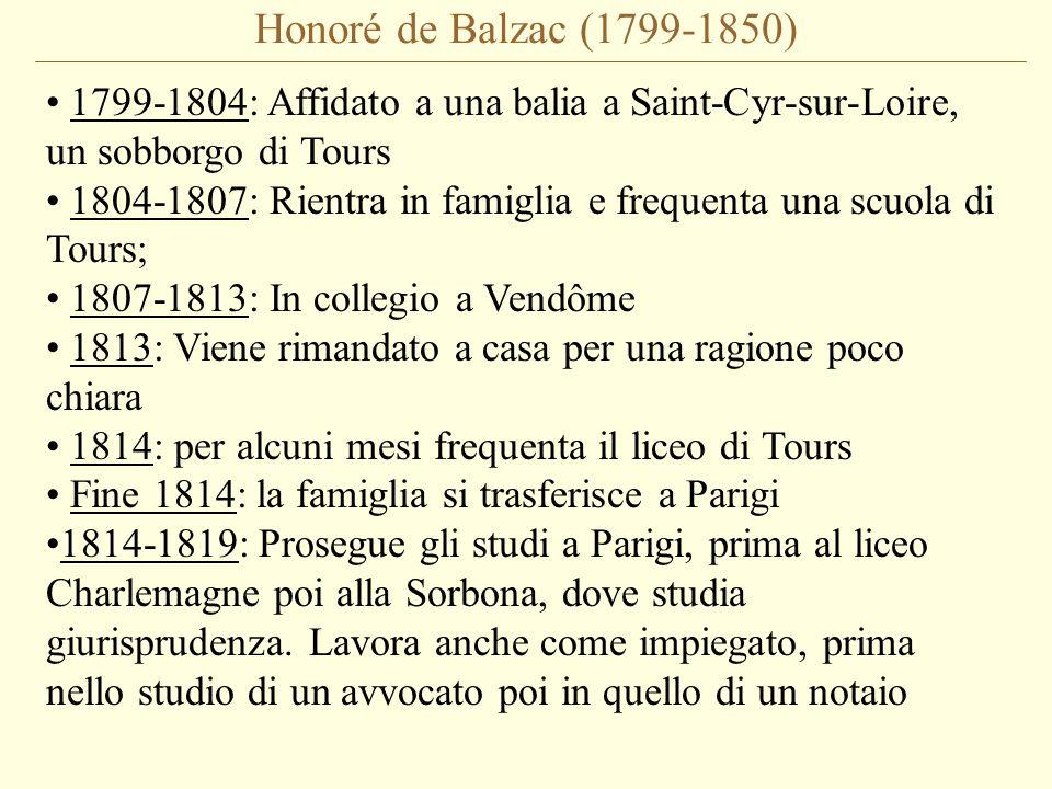 Honoré de Balzac (1799-1850) 1799-1804: Affidato a una balia a Saint-Cyr-sur-Loire, un sobborgo di Tours.