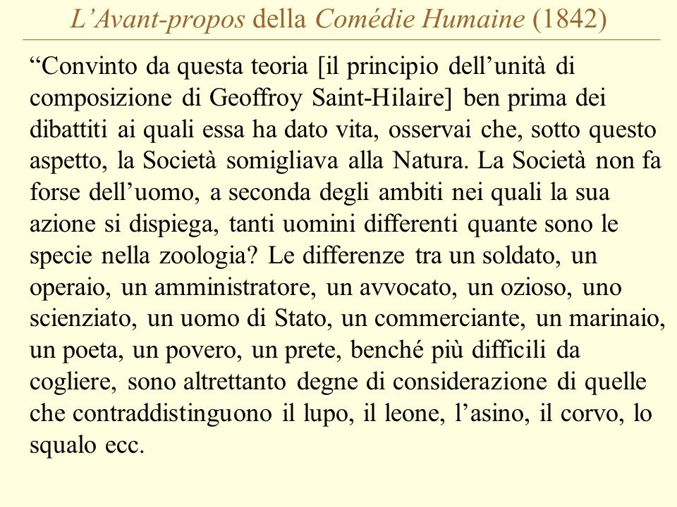 L'Avant-propos della Comédie Humaine (1842)