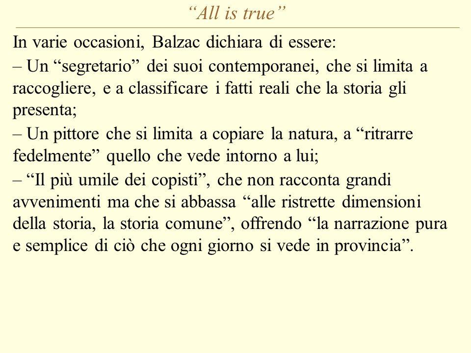 All is true In varie occasioni, Balzac dichiara di essere: