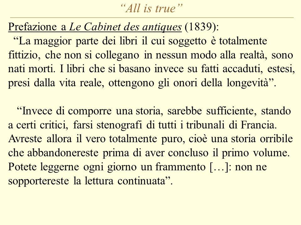 All is true Prefazione a Le Cabinet des antiques (1839):