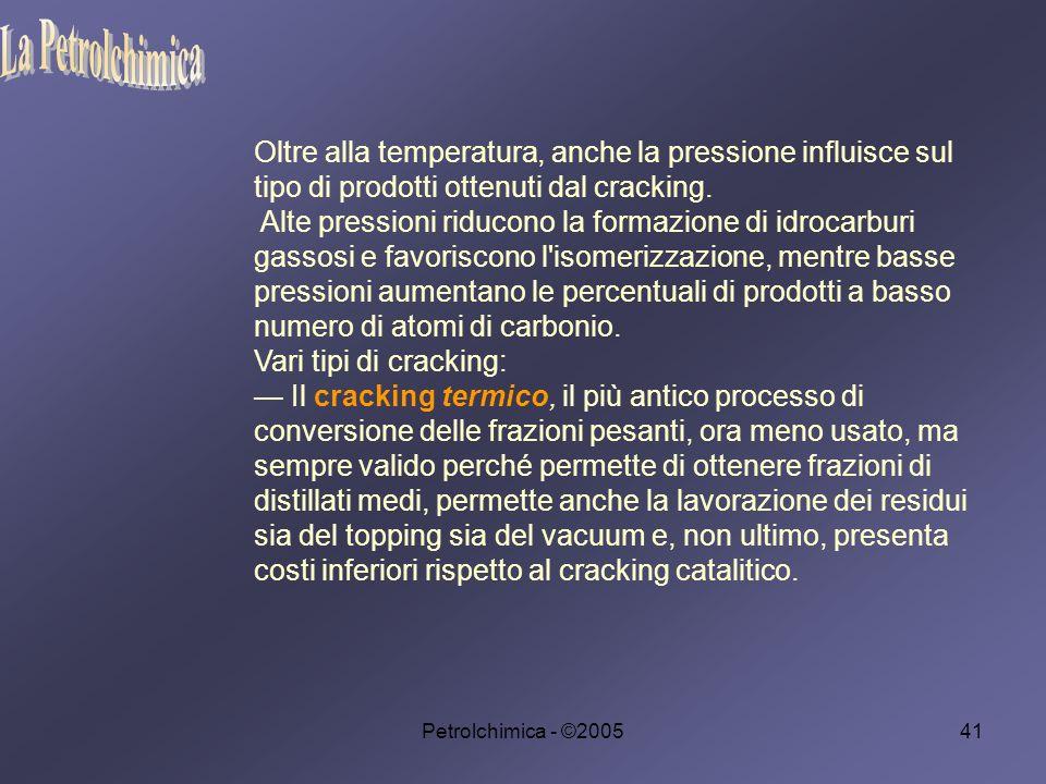 La Petrolchimica Oltre alla temperatura, anche la pressione influisce sul tipo di prodotti ottenuti dal cracking.