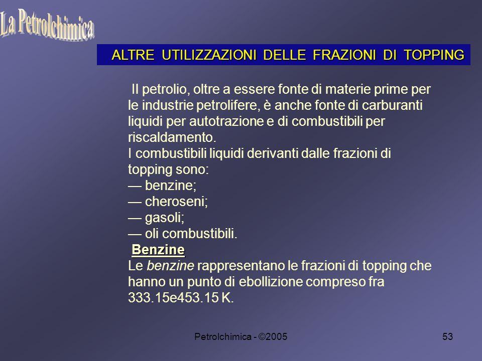 La Petrolchimica ALTRE UTILIZZAZIONI DELLE FRAZIONI DI TOPPING