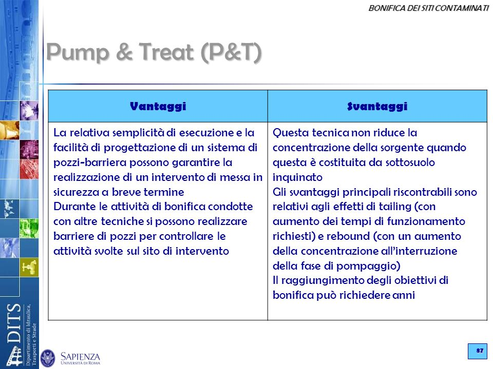 Pump & Treat (P&T) Vantaggi Svantaggi