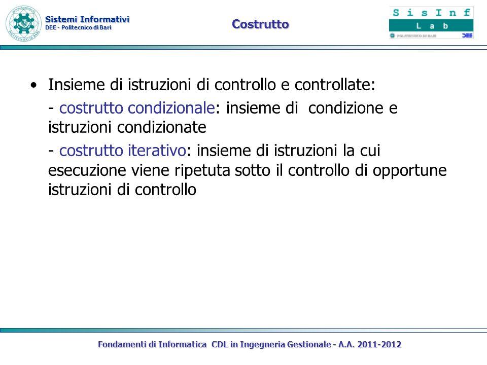 Insieme di istruzioni di controllo e controllate: