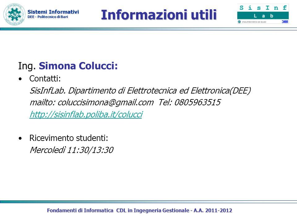 Informazioni utili Ing. Simona Colucci: Contatti: