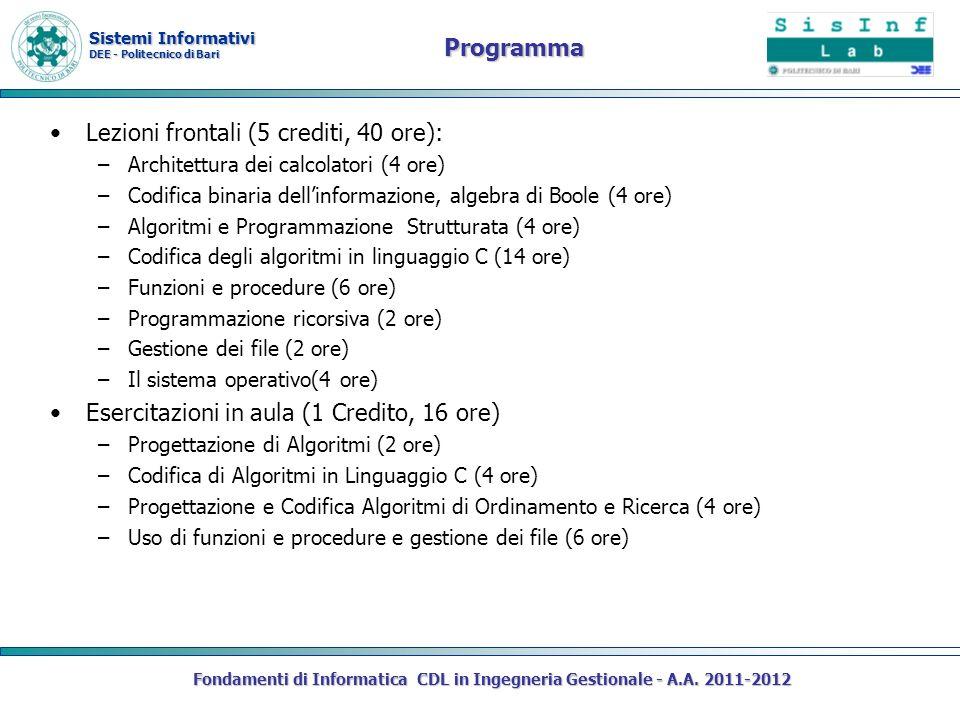 Lezioni frontali (5 crediti, 40 ore):