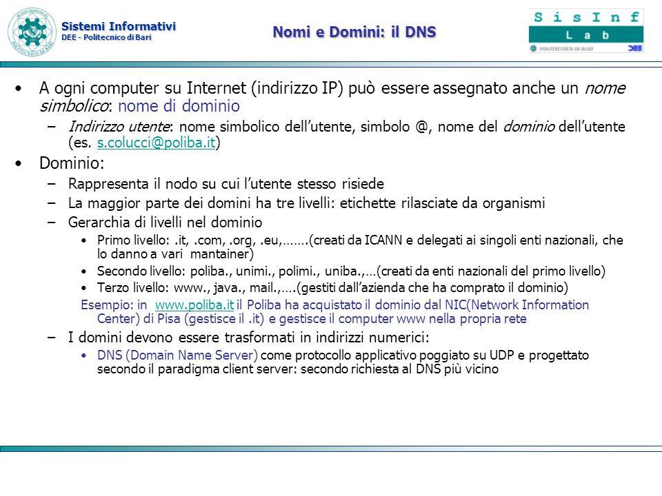Nomi e Domini: il DNS A ogni computer su Internet (indirizzo IP) può essere assegnato anche un nome simbolico: nome di dominio.