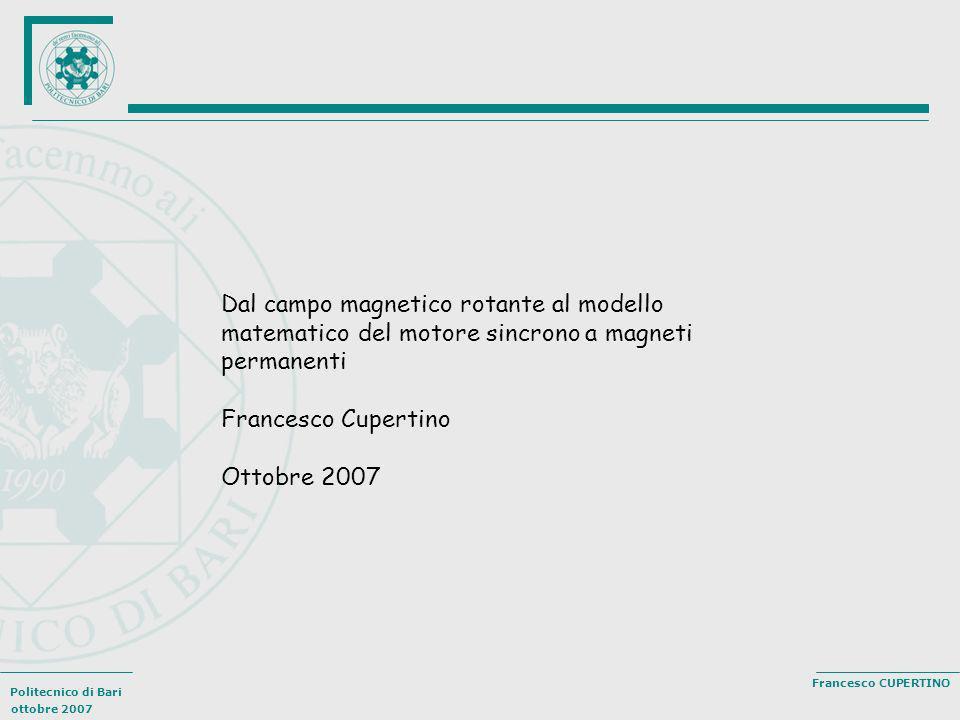 Dal campo magnetico rotante al modello matematico del motore sincrono a magneti permanenti