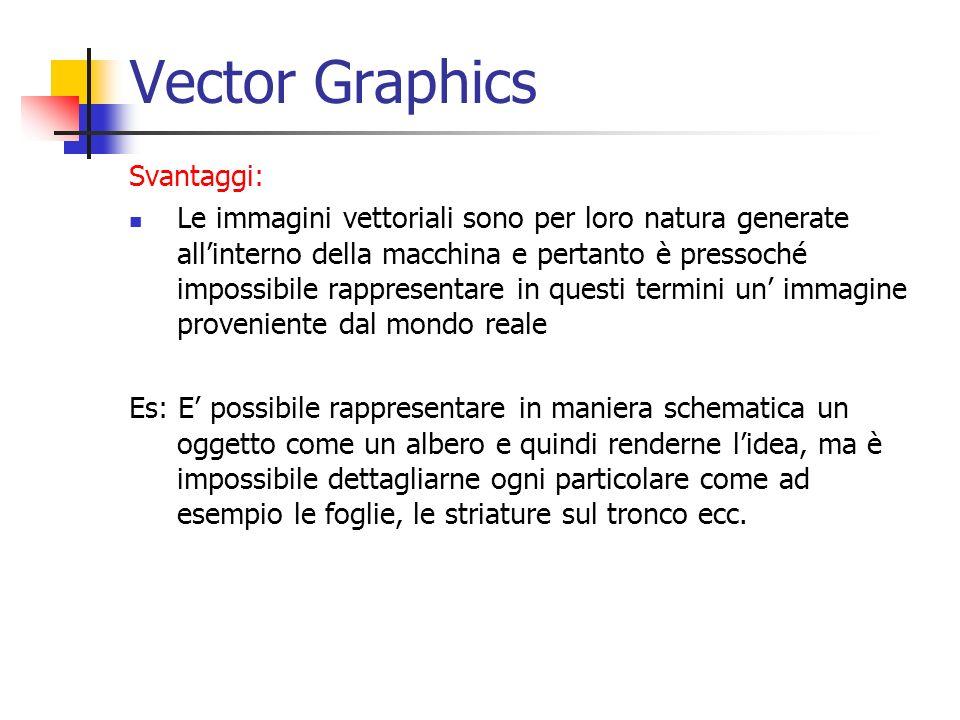 Vector Graphics Svantaggi: