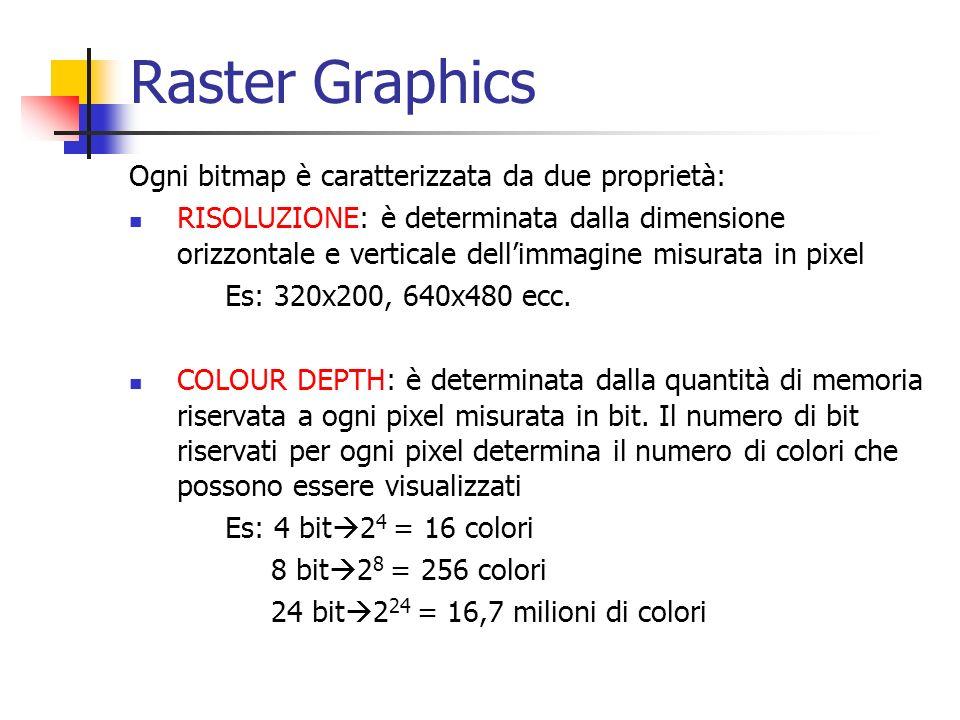 Raster Graphics Ogni bitmap è caratterizzata da due proprietà: