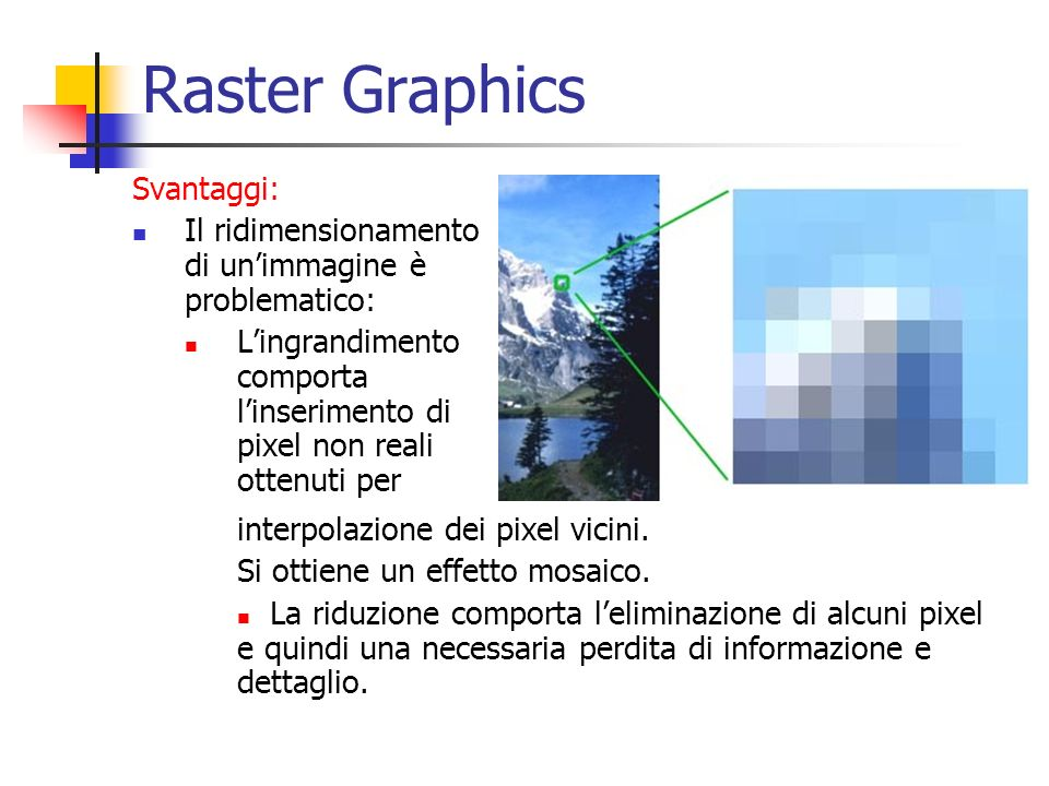 Raster Graphics Svantaggi: