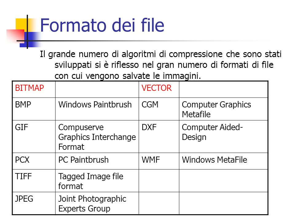 Formato dei file