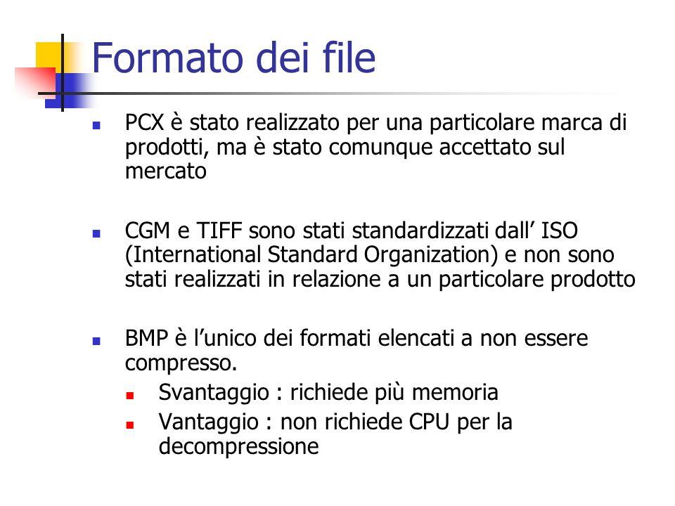 Formato dei file PCX è stato realizzato per una particolare marca di prodotti, ma è stato comunque accettato sul mercato.