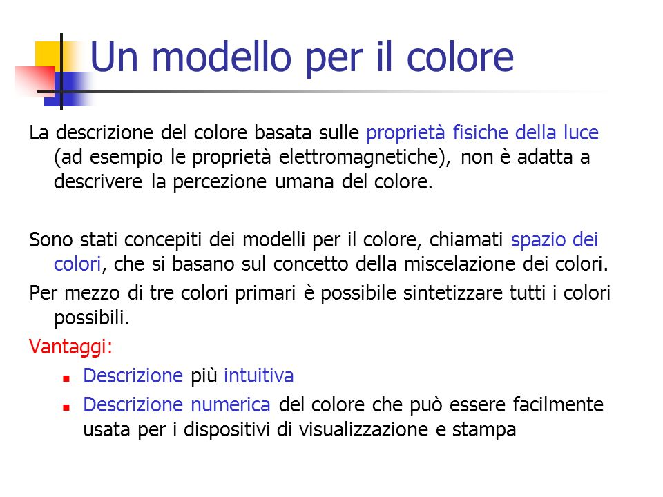 Un modello per il colore