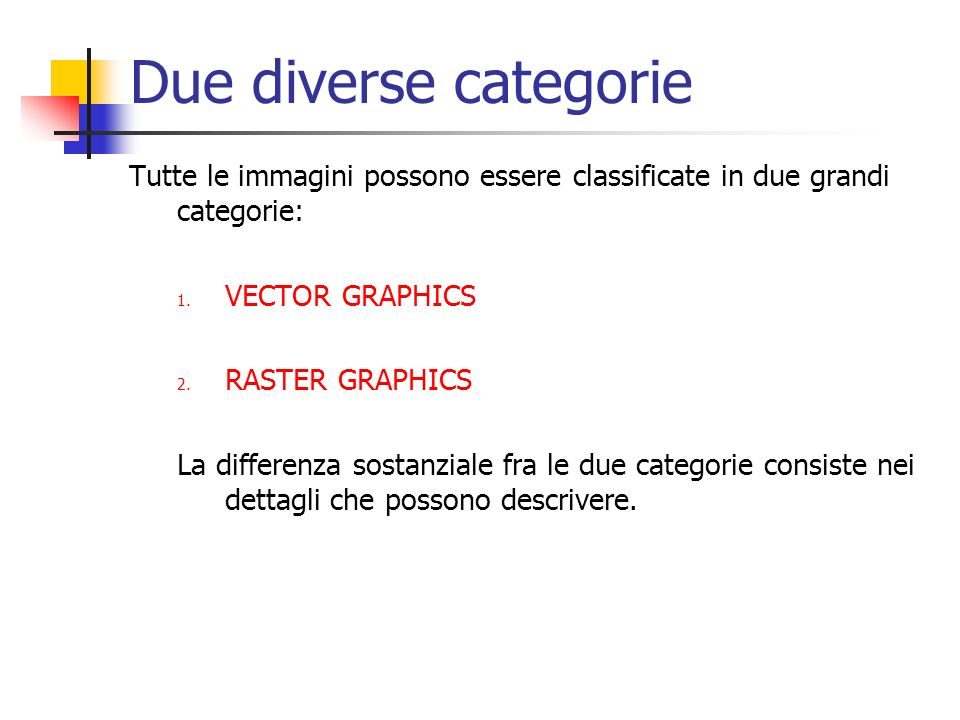 Due diverse categorie Tutte le immagini possono essere classificate in due grandi categorie: VECTOR GRAPHICS.